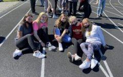 Abington High School seniors Laura Bartlett, Aleena Magnasco, Lily Bonner, Jordan Little, and Leah Kinniburgh at Reilly Field in Abington for Senior Field Day on May 2021.