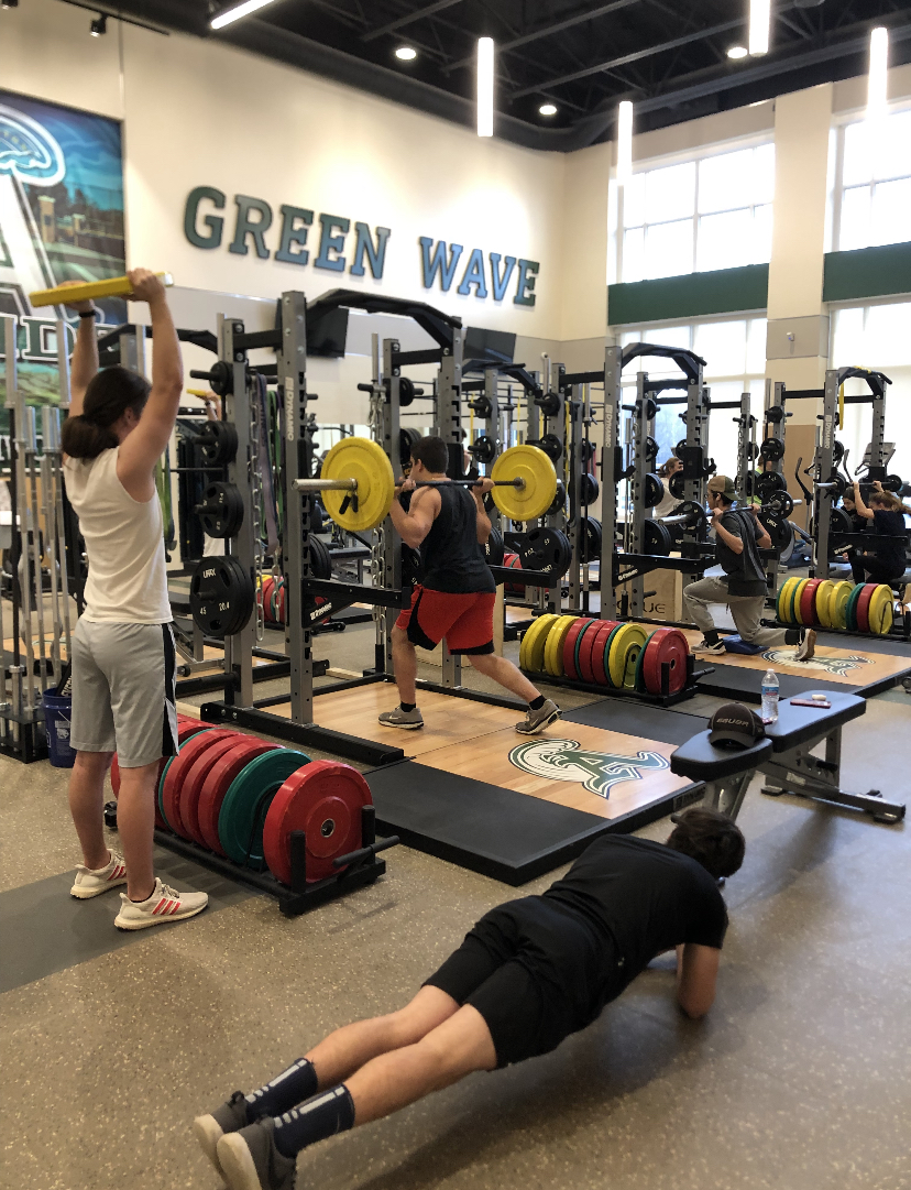 Abington High School students completing a workout during their CrossFit class on February 13,2020