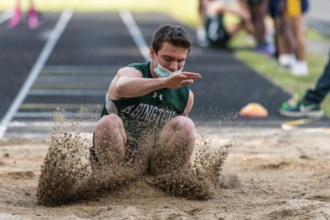 Abington High School junior Drew Donovan in a Track and Field meeting that was held in the spring due to the COVID-19 Pandemic.