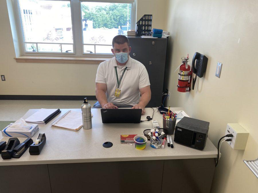 Abington High School Academic Support teacher Mr. Daniel Murphy in his room helping students during bridge block on May 26, 2021.