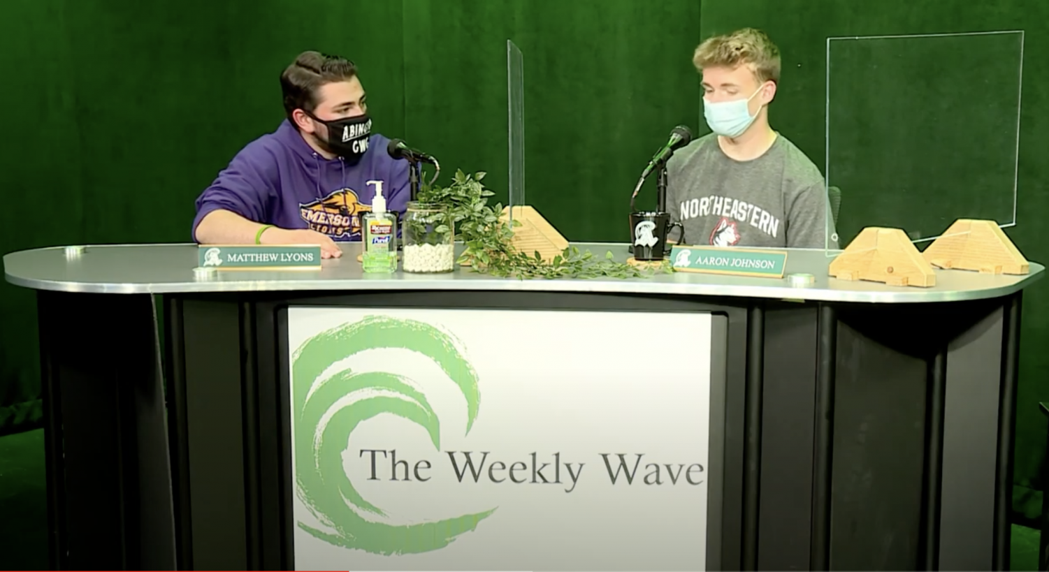 Abington High School seniors and co-creators and -hosts of The Weekly Wave on the set at CAM in early June of 2021.