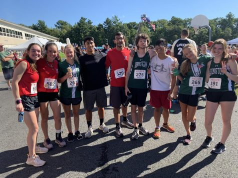 Members of the AHS soccer, cross country and track and field teams pose for a picture after the 20th Annual Jeff Coombs Memorial Road Race on Sunday, September 19th, 2021. From left to right: Maria Wood, Selena Wood, Jill Groom, Kaiaam Mohammed, Krish Panjwani, Collin Hammill, Enver Amboy, Shannon Groom, and Jackie Earner